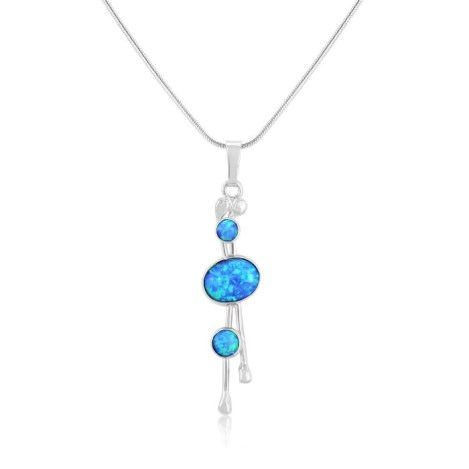 3 Blue Opal and Silver Drop Pendant | Image 1