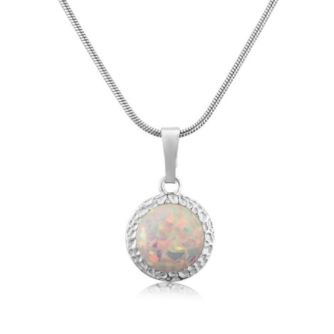 Hammered 10mm Opal Pendant | Image 1