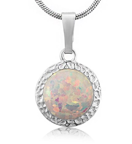 8mm White Opal Silver Hammered Pendant | Image 1
