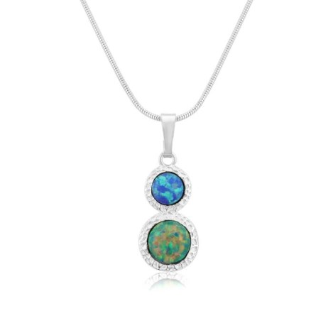 Green and Blue Opal  Hammered Pendant | Image 1
