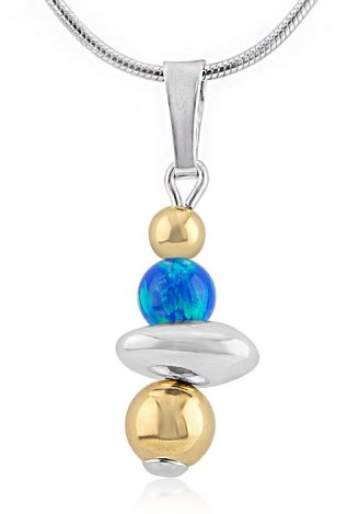 Gold and Silver and Blue Opal Nugget Pendant | Image 1