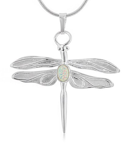 Silver Dragonfly White Opal Pendant | Image 1