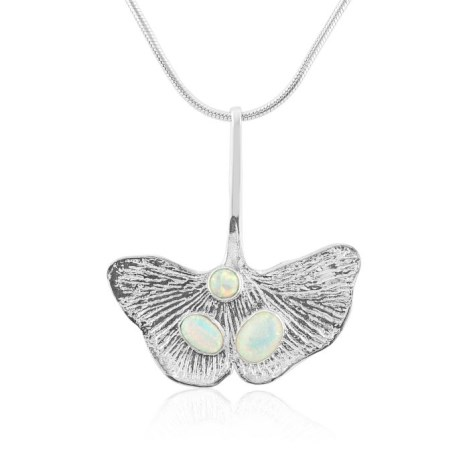 Silver Genko leaf Pendant with White Opals | Image 1