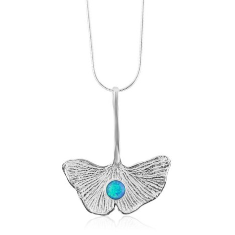 Silver ginkgo leaf Pendant with Blue Opal | Image 1