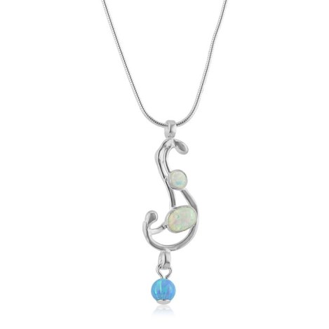 White and Blue Opal Wavy and Silver Wire Pendant | Image 1