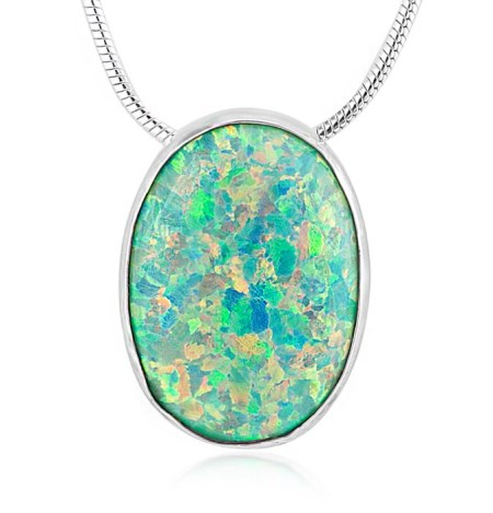 13x18mm  Sterling Silver and Green Opal Pendant | Image 1