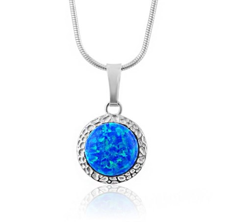 8mm Silver Dark Blue Opal Hammered Pendant | Image 1