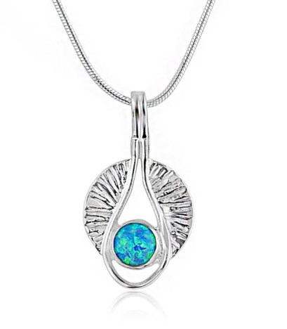 Silver Lilypad Pendant with Blue Opal | Image 1
