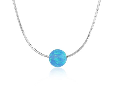 Blue Opal Bead Pendant With Silver Chain | Image 1