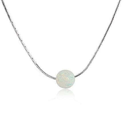 White Opal Bead Pendant With Silver Chain | Image 1