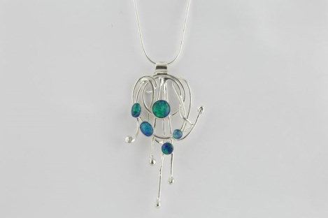 Blue Jelly Opal and Silver Wire Pendant | Image 1