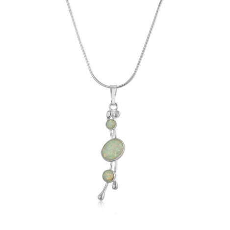 Three White Opal and Silver Drop Pendant | Image 1