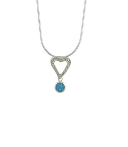 Silver heart pendant with blue opal | Image 1