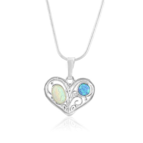 Blue and white opal heart pendant | Image 1