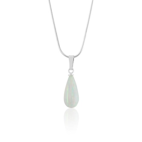 Silver and white Opal Teardrop Pendant | Image 1