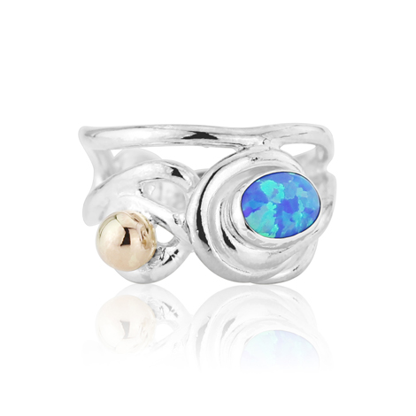 Gold and Silver Opal Wire Work Ring | Image 1
