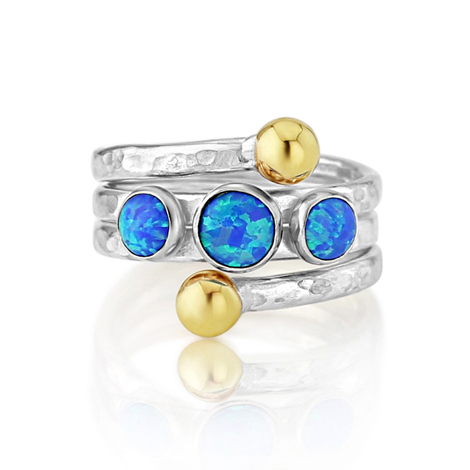 Blue Opal Gold and Silver Coil Ring | Image 1