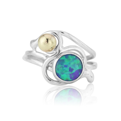 Green Blue Gold and Silver Opal Ring | Image 1