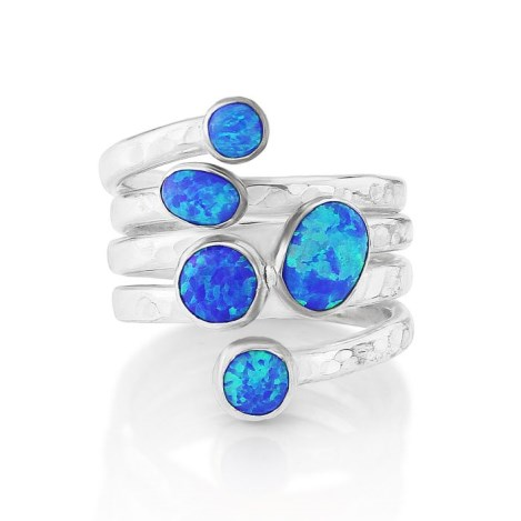 Silver Opal Hammered Ring | Image 1