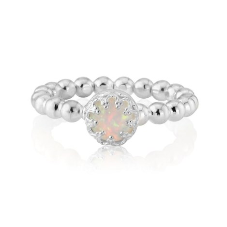 Silver Pearl Wire Opal Ring | Image 1