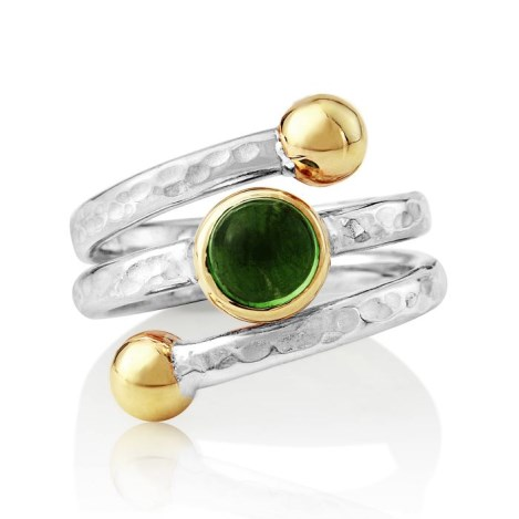Hammered Gold and Silver Green Tourmaline Ring | Image 1