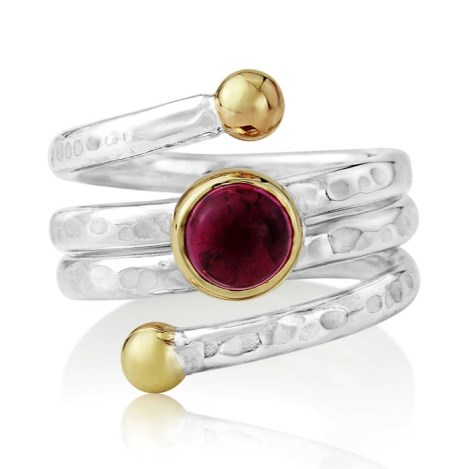 Hammered Gold and Silver Pink Tourmaline Ring | Image 1