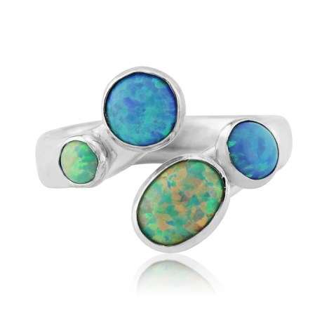 Silver Hammered Opal Ring | Image 1