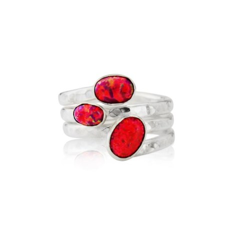 Silver Red Opal Hammered Spiral Ring | Image 1