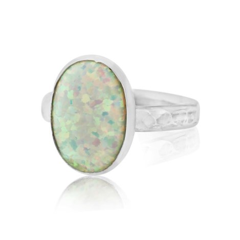 Silver Hammered White Opal Ring | Image 1