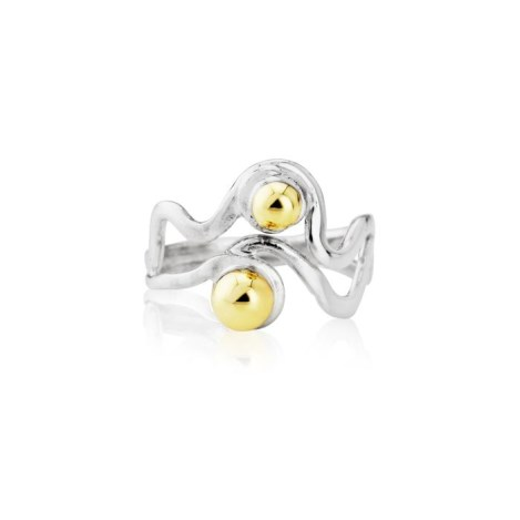 Silver Silver and Gold Wave Ring | Image 1