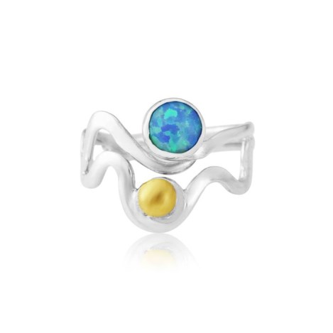 Gold and Silver Opal Wave Ring | Image 1