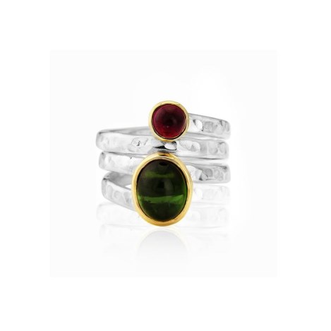 Gold and Silver Spiral Tourmaline  Ring | Image 1