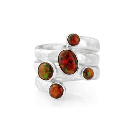 Silver Multi Fire Orange Opal Hammered Spiral Ring | Image 1