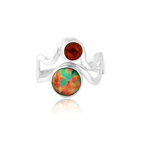 Sterling Silver Red Opal Wave Ring | Image 1