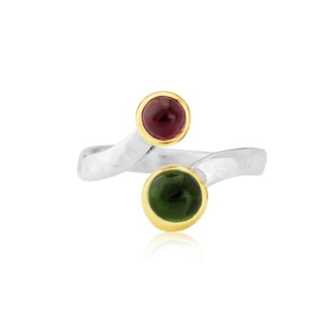 Gold and Silver Pink and Green Tourmaline Ring | Image 1