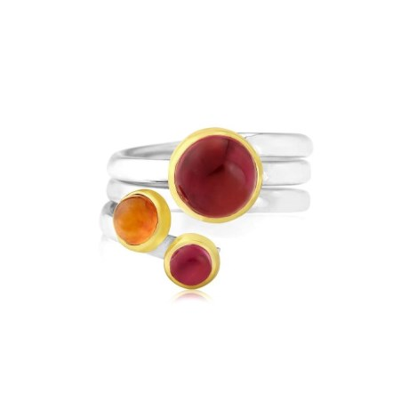 Gold and Silver Spiral Red Tourmaline  Ring | Image 1
