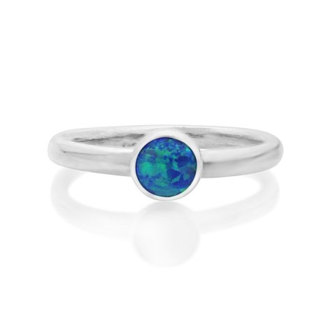Sterling Silver Dark Blue Opal Ring  | Image 1