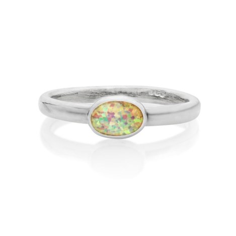 Sterling Silver White Opal Oval Ring  | Image 1