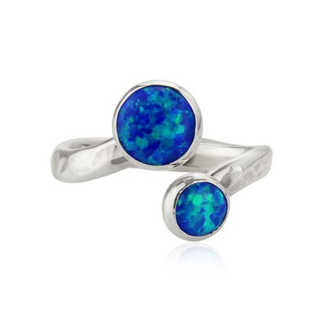 Silver and Dark Blue Opal Adjustable Ring | Image 1