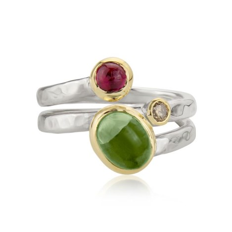 Gold and Silver Diamond Spiral Red and Green Tourmaline Ring | Image 1