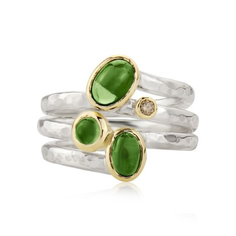 Gold & Silver Diamond Green Tourmaline Ring | Image 1