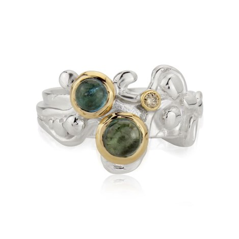 Gold and Silver Diamond and Green Tourmaline Ring | Image 1