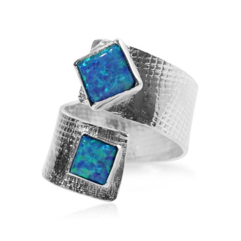 Textured Adjustable Square Opal Ring | Image 1