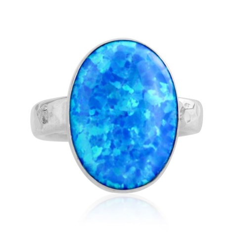 Handmade Silver Large   blue Opal Ring | Image 1
