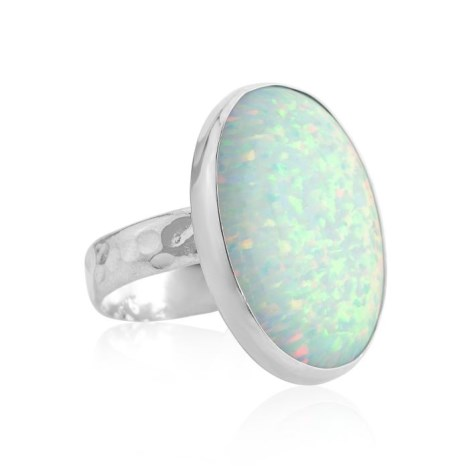 Handmade Silver Large white Opal Ring | Image 1