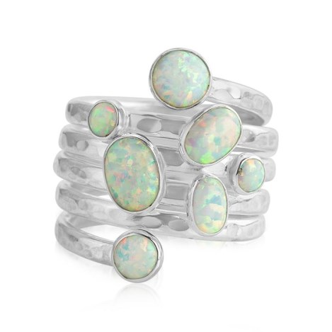 Silver Spiral  white  opal Ring | Image 1