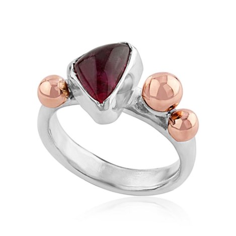 Silver & Rose Gold Pink Tourmaline Ring | Image 1