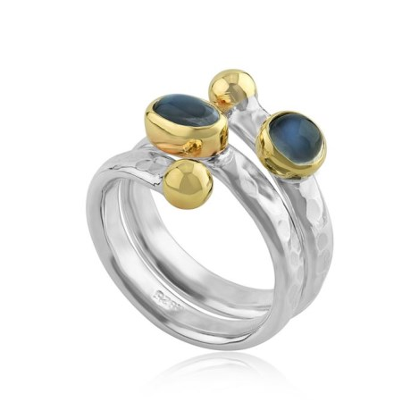Gold & Silver Hammered Spiral Moonstone ring | Image 1