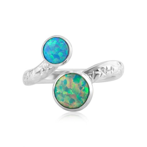 Green and Blue Opal Adjustable Ring | Image 1