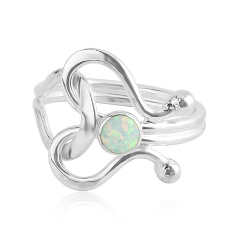 White Opal Contemporary Silver Ring | Image 1